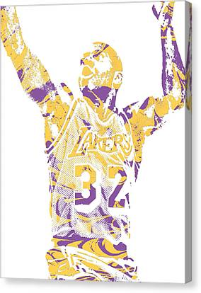 Cities Canvas Print - Magic Johnson Los Angeles Lakers Pixel Art 7 by Joe Hamilton