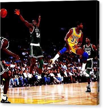 Larry Bird Canvas Print - Magic Johnson No Look Pass 7a by Brian Reaves