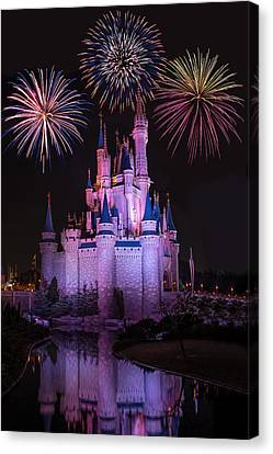 Florida House Canvas Print - Magic Kingdom Castle Under Fireworks by Chris Bordeleau