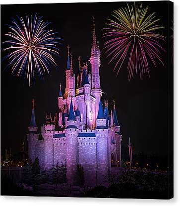 Magic Kingdom Castle Under Fireworks Square Canvas Print