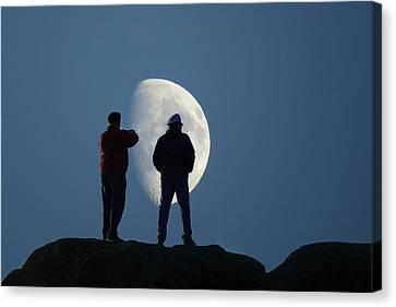 Magic Landscapes 2 -- Moon Men Canvas Print by Rick Lawler