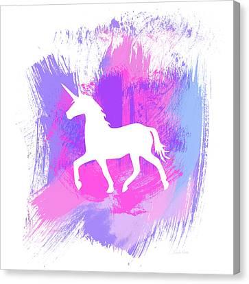 Kids Card Canvas Print - Magic Unicorn 1- Art By Linda Woods by Linda Woods