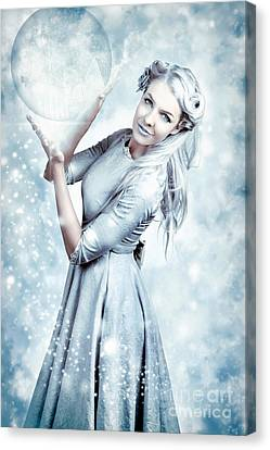 Magic Winter Woman In Luxury Fashion And Makeup Canvas Print by Jorgo Photography - Wall Art Gallery