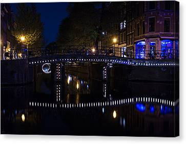 Magical Amsterdam Night - Blue White And Purple Lights Symmetry Canvas Print