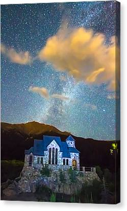 Magical Chapel On The Rock Milky Way Sky Canvas Print by James BO  Insogna
