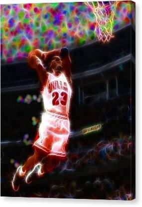 Magical Michael Jordan White Jersey Canvas Print by Paul Van Scott