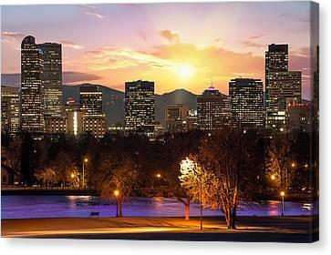 Magical Mountain Sunset - Denver Colorado Downtown Skyline Canvas Print by Gregory Ballos