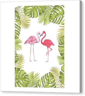 Canvas Print featuring the painting Magical Tropicana Love Flamingos And Leaves by Georgeta Blanaru