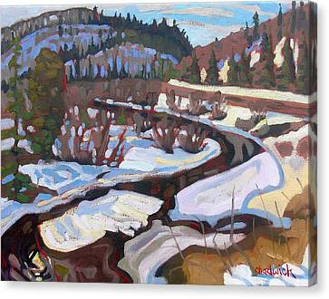 Snow Melt Canvas Print - Magnetawan Morning by Phil Chadwick