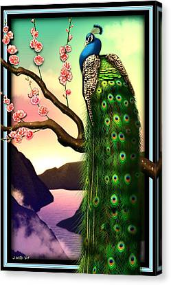 Magnificent Peacock On Plum Tree In Blossom Canvas Print by John Wills