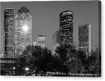 Magnolia City In Black And White - Houston Texas Skyline Canvas Print