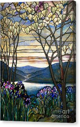 Tree Blossoms Canvas Print - Magnolias And Irises by Louis Comfort Tiffany