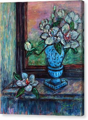 Canvas Print featuring the painting Magnolias In A Blue Vase By The Window by Xueling Zou