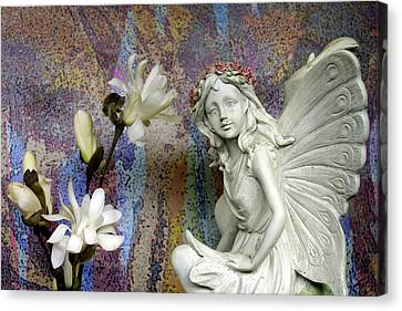 Magnolias With Fairy Canvas Print