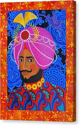 Bold Colors Canvas Print - Maharaja With Pink Turban by Jane Tattersfield