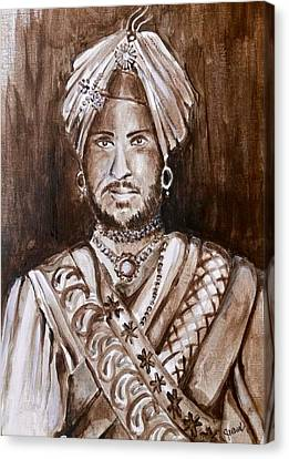 Sikh Art Canvas Print - Maharajah Duleep Singh Black And White Portrait  by Sukhpal Grewal