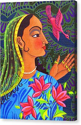 Bold Colors Canvas Print - Maharani With Magenta Bird by Jane Tattersfield