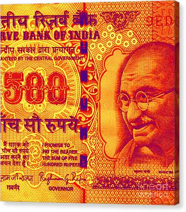 Canvas Print featuring the digital art Mahatma Gandhi 500 Rupees Banknote by Jean luc Comperat