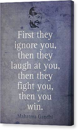 Mahatma Gandhi Quote On Winning Canvas Print