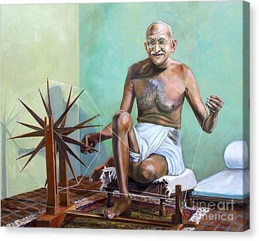 Mahatma Gandhi Spinning Canvas Print by Dominique Amendola