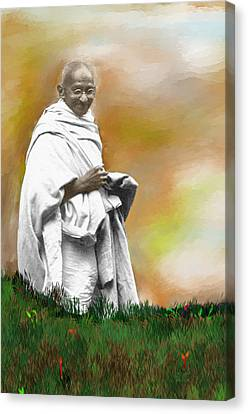 Disobedient Canvas Print - Mahatma Ghandi by C A Soto Aguirre