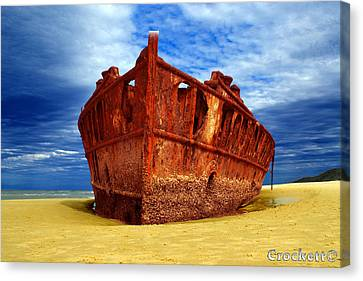 Canvas Print featuring the photograph Maheno Shipwreck Fraser Island Queensland Australia by Gary Crockett