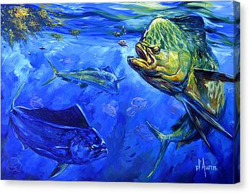 Saltwater Fishing Canvas Print - Mahi And Moon Jellyfish by Tom Dauria