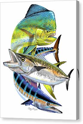 Saltwater Fishing Canvas Print - Mahi Wahoo Kingfish by Carey Chen
