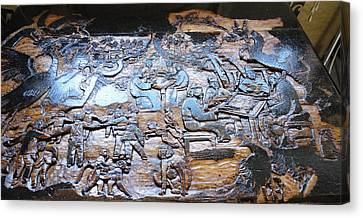 Canvas Print featuring the relief Mahjhong In The Park by Debbi Saccomanno Chan