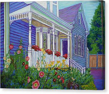 Mahone Bay Hollyhocks Canvas Print