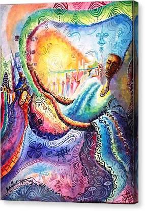 Mai Goge Master Guitarist Canvas Print by Bankole Abe
