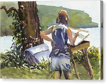 Artist At Easel Canvas Print - Maid In The Shade by Robert Haeussler
