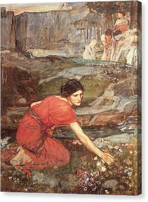 Picking Flowers Canvas Print - Maidens Picking Flowers By The Stream by John William Waterhouse