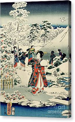 Maids In A Snow Covered Garden Canvas Print by Hiroshige