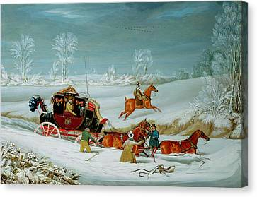 Winter In The Country Canvas Print - Mail Coach In The Snow by John Pollard