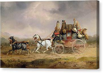 Mail Coaches On The Road - The Louth-london Royal Mail Progressing At Speed Canvas Print by Charles Cooper Henderson