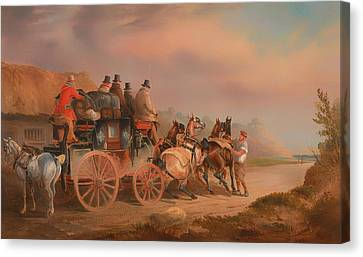 Mail Coaches On The Road - The Quicksilver Devonport - London Mail About To Start With A New Team Canvas Print by Mountain Dreams