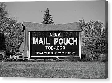 Mail Pouch Tobacco In Black And White Canvas Print by Michiale Schneider