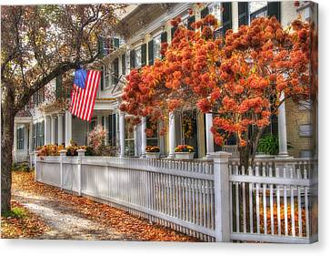 Main St. Usa - Woodstock, Vermont Canvas Print by Joann Vitali