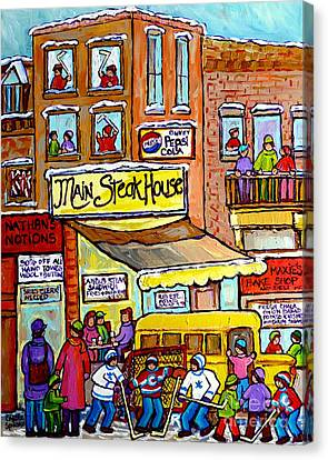 Main Steakhouse Montreal Memoriesjewish Inner City Scene Hockey Art Carole Spandau Winter  Paintings Canvas Print by Carole Spandau