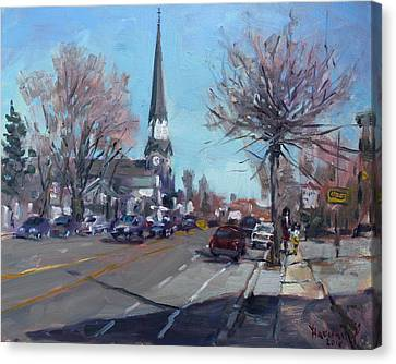 Main Street In Williamsville Canvas Print by Ylli Haruni