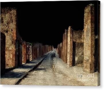 Canvas Print featuring the digital art Main Street, Pompeii by Lois Bryan