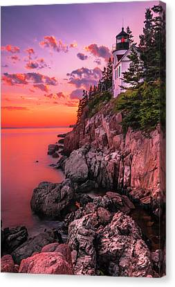Canvas Print featuring the photograph Maine Bass Harbor Lighthouse Sunset by Ranjay Mitra