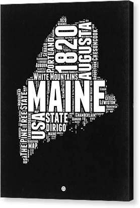 Maine Black And White Map Canvas Print by Naxart Studio