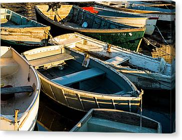 Canvas Print featuring the photograph Maine Boats At Sunset by Ranjay Mitra
