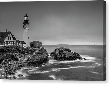 Maine Cape Elizabeth Lighthouse Aka Portland Headlight In Bw Canvas Print