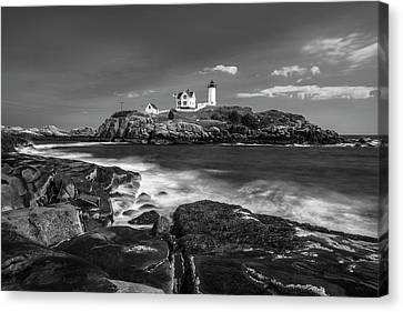 Maine Cape Neddick Lighthouse In Bw Canvas Print