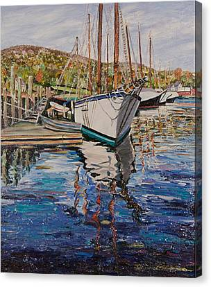 Maine Coast Boat Reflections Canvas Print by Richard Nowak