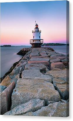 Canvas Print featuring the photograph Maine Coastal Sunset Over The Spring Breakwater Lighthouse by Ranjay Mitra
