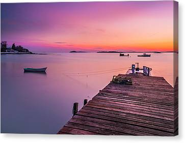 Canvas Print featuring the photograph Maine Cooks Corner Lobster Shack At Sunset by Ranjay Mitra